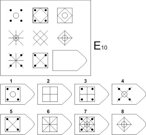 прогрессивные матрицы Равена, серия E, карточка 10