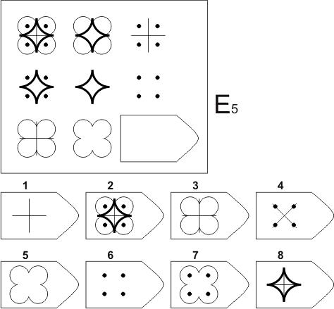 прогрессивные матрицы Равена, серия E, карточка 5