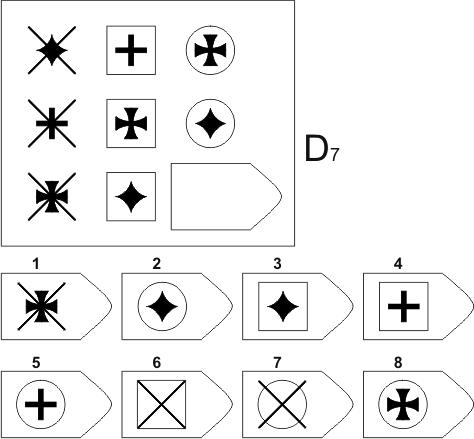 прогрессивные матрицы Равена, серия D, карточка 7