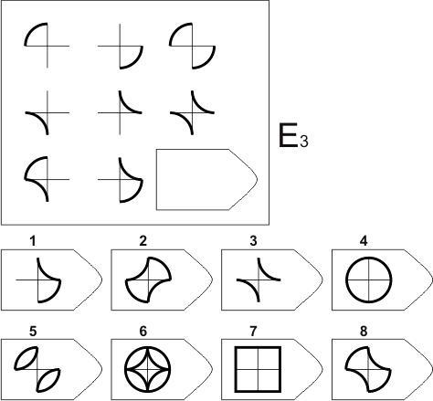 прогрессивные матрицы Равена, серия E, карточка 3