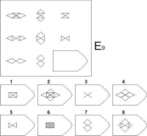прогрессивные матрицы Равена, серия E, карточка 9
