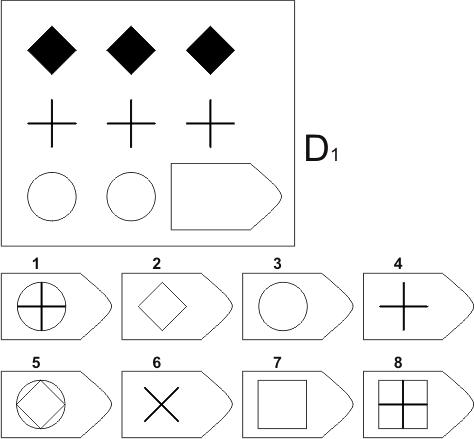 прогрессивные матрицы Равена, серия D, карточка 1