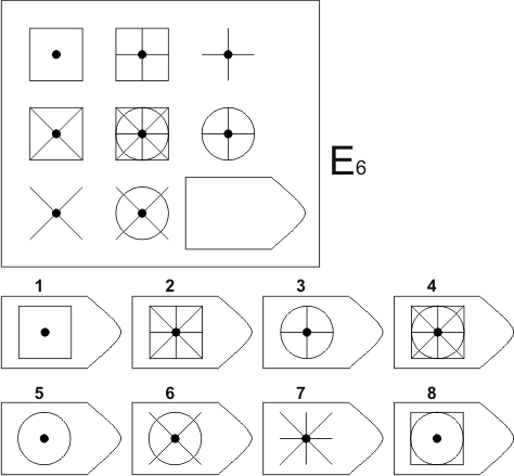 прогрессивные матрицы Равена, серия E, карточка 6