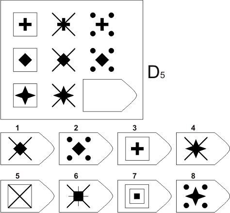 прогрессивные матрицы Равена, серия D, карточка 5