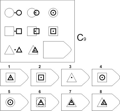 прогрессивные матрицы Равена, серия C, карточка 9