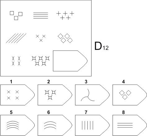 прогрессивные матрицы Равена, серия D, карточка 12