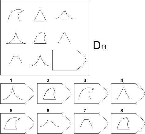 прогрессивные матрицы Равена, серия D, карточка 11