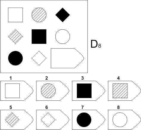 прогрессивные матрицы Равена, серия D, карточка 8