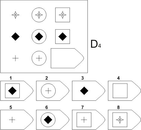 прогрессивные матрицы Равена, серия D, карточка 4