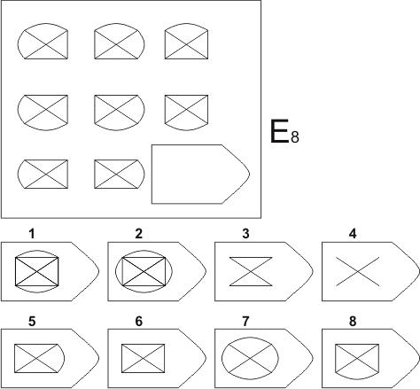 прогрессивные матрицы Равена, серия E, карточка 8