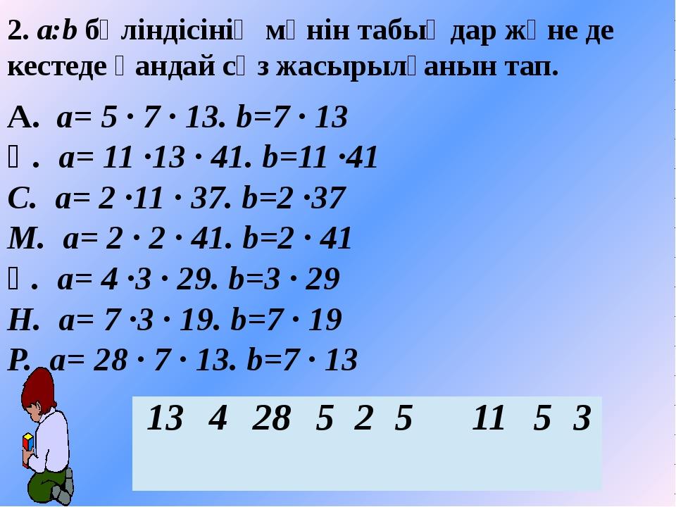 2. a:b бөліндісінің мәнін табыңдар және де кестеде қандай сөз жасырылғанын та...