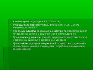 Авторы проекта: учащиеся 8-9,12классов; Руководители проекта: учитель физики