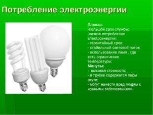 Потребление электроэнергии Плюсы: -большой срок службы; -низкое потребление э