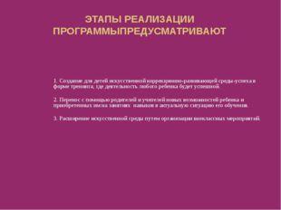 ЭТАПЫ РЕАЛИЗАЦИИ ПРОГРАММЫПРЕДУСМАТРИВАЮТ 1. Создание для детей искусственной