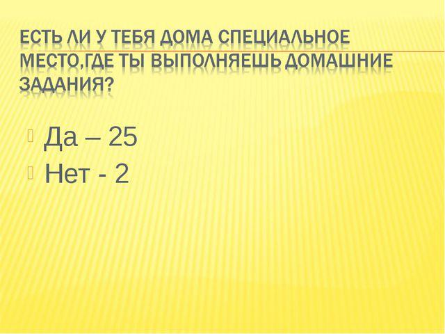 Да – 25 Нет - 2