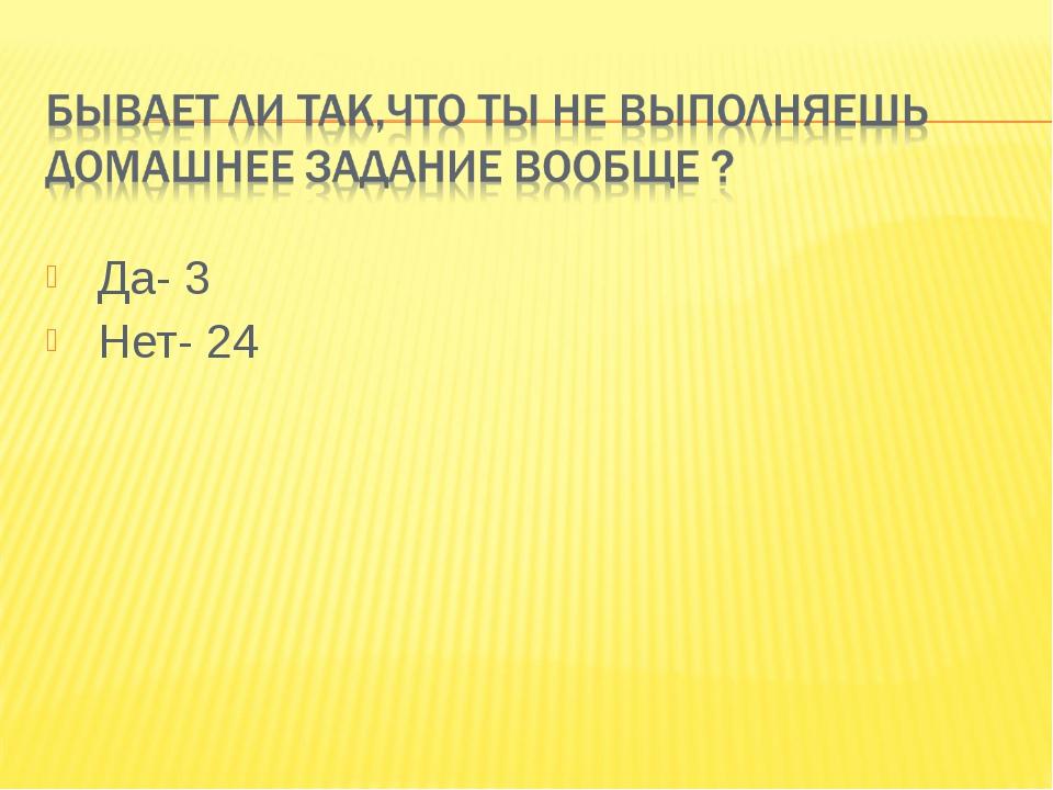 Да- 3 Нет- 24