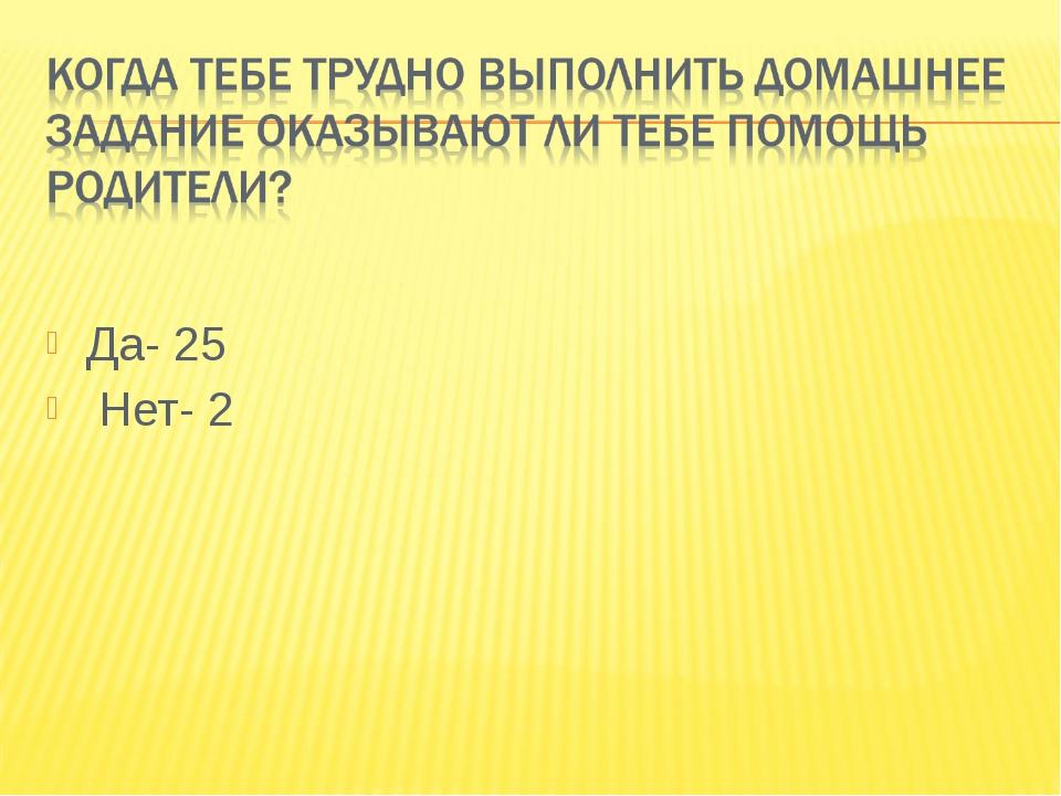 Да- 25 Нет- 2