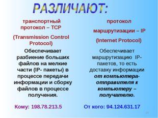 * транспортный протокол – TCP (Transmission Control Protocol) протокол маршру