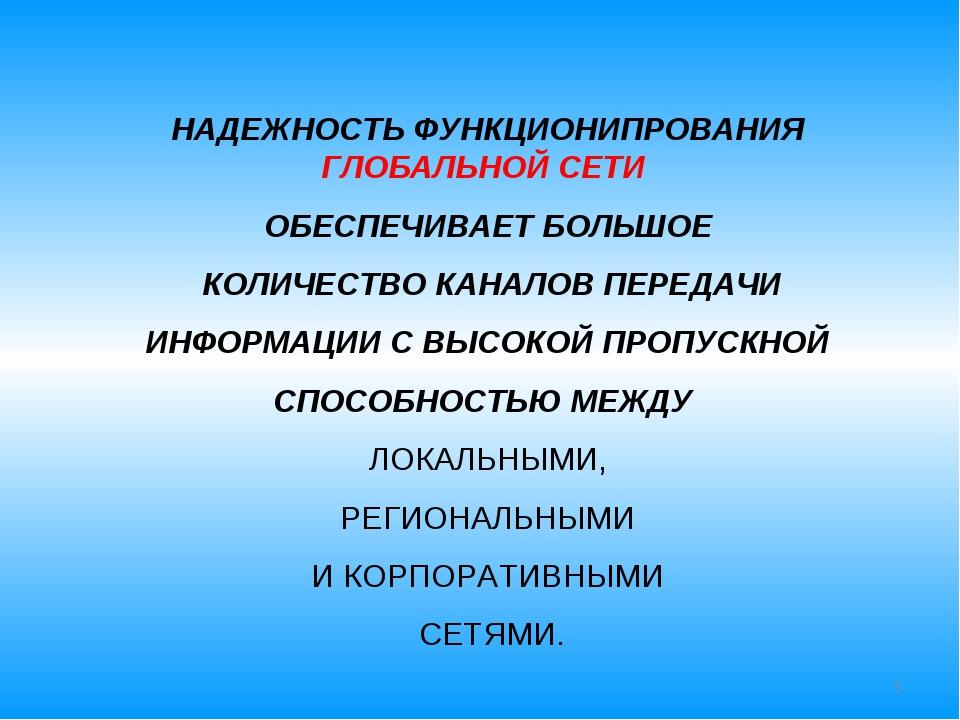 * НАДЕЖНОСТЬ ФУНКЦИОНИПРОВАНИЯ ГЛОБАЛЬНОЙ СЕТИ ОБЕСПЕЧИВАЕТ БОЛЬШОЕ КОЛИЧЕСТВ...