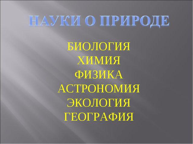 БИОЛОГИЯ ХИМИЯ ФИЗИКА АСТРОНОМИЯ ЭКОЛОГИЯ ГЕОГРАФИЯ