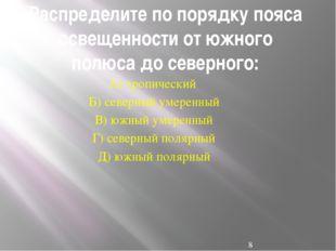 Распределите по порядку пояса освещенности от южного полюса до северного: А)
