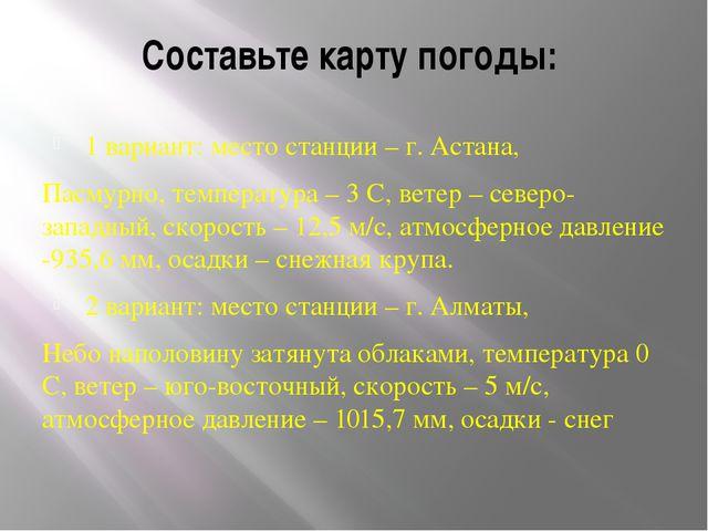 Составьте карту погоды: 1 вариант: место станции – г. Астана, Пасмурно, темп...