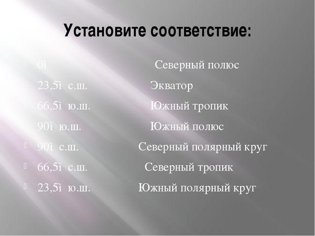 Установите соответствие: 0◦ Северный полюс 23,5◦с.ш. Экватор 66,5◦ю.ш. Южный...