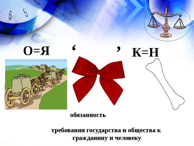 обязанность требования государства и общества к гражданину и человеку О=Я ' К...