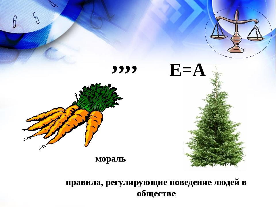 мораль правила, регулирующие поведение людей в обществе '''' Е=А