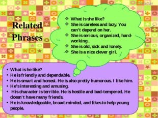 Test 1 Find synonyms: 1. Shy a) Sad 2. Upset b) Cute 3. Talkative c) Awful 4.