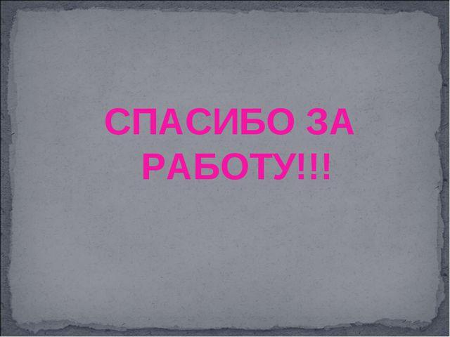 СПАСИБО ЗА РАБОТУ!!!