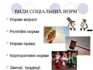 ВИДИ СОЦІАЛЬНИХ НОРМ Норми моралі Релігійні норми Норми права Корпоративні но