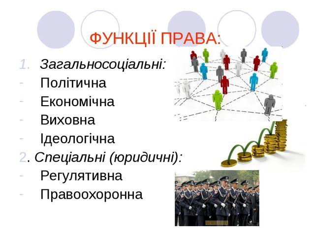 ФУНКЦІЇ ПРАВА: Загальносоціальні: Політична Економічна Виховна Ідеологічна 2....