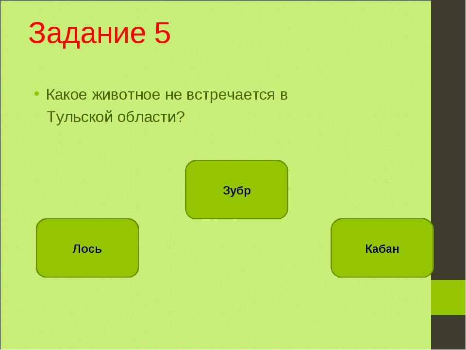 Задание 5 Какое животное не встречается в Тульской области? Зубр Лось Кабан
