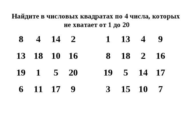 Найдите в числовых квадратах по 4 числа, которых не хватает от 1 до 20 8414...