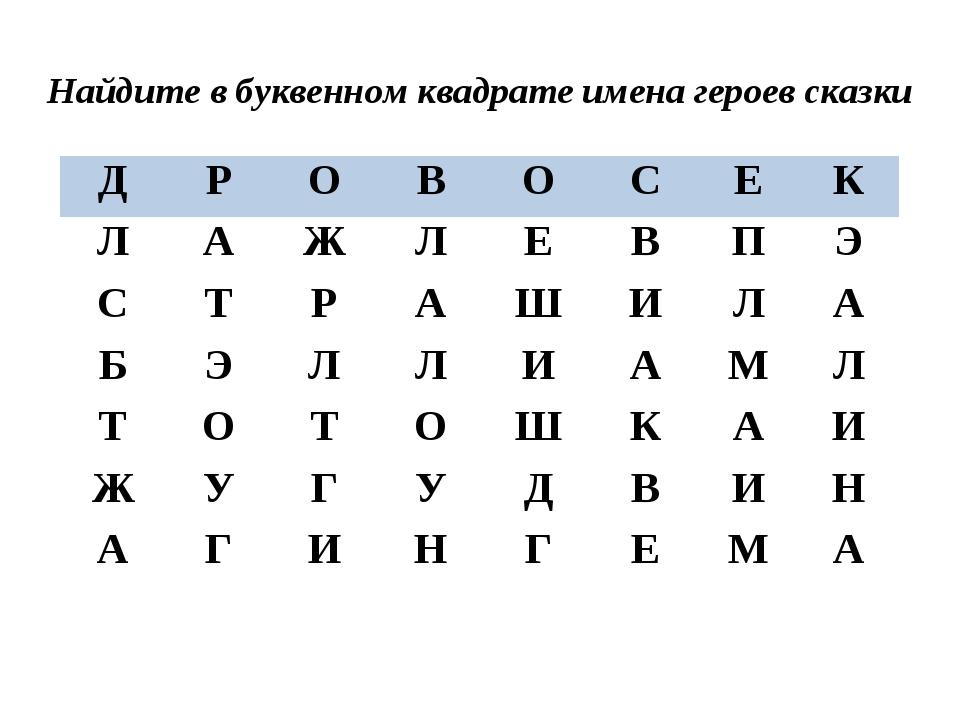 Найдите в буквенном квадрате имена героев сказки ДРОВОСЕК ЛАЖЛЕВ...