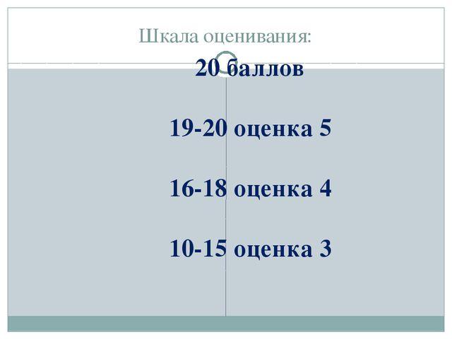 Шкала оценивания: 20 баллов 19-20 оценка 5 16-18 оценка 4 10-15 оценка 3
