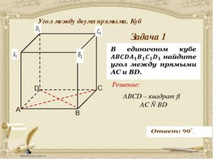 Антонова Г.В. Задача 1 Угол между двумя прямыми. Куб ABCD – квадрат ⇒ AC ⊥ B