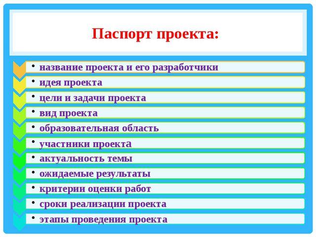 Паспорт проекта: