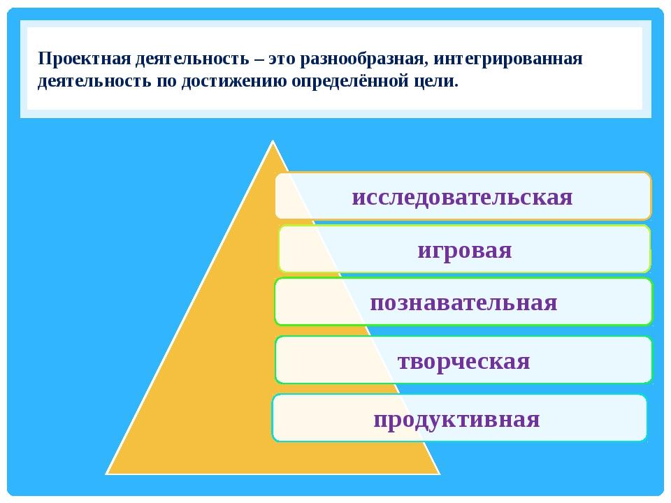 Проектная деятельность – это разнообразная, интегрированная деятельность по...