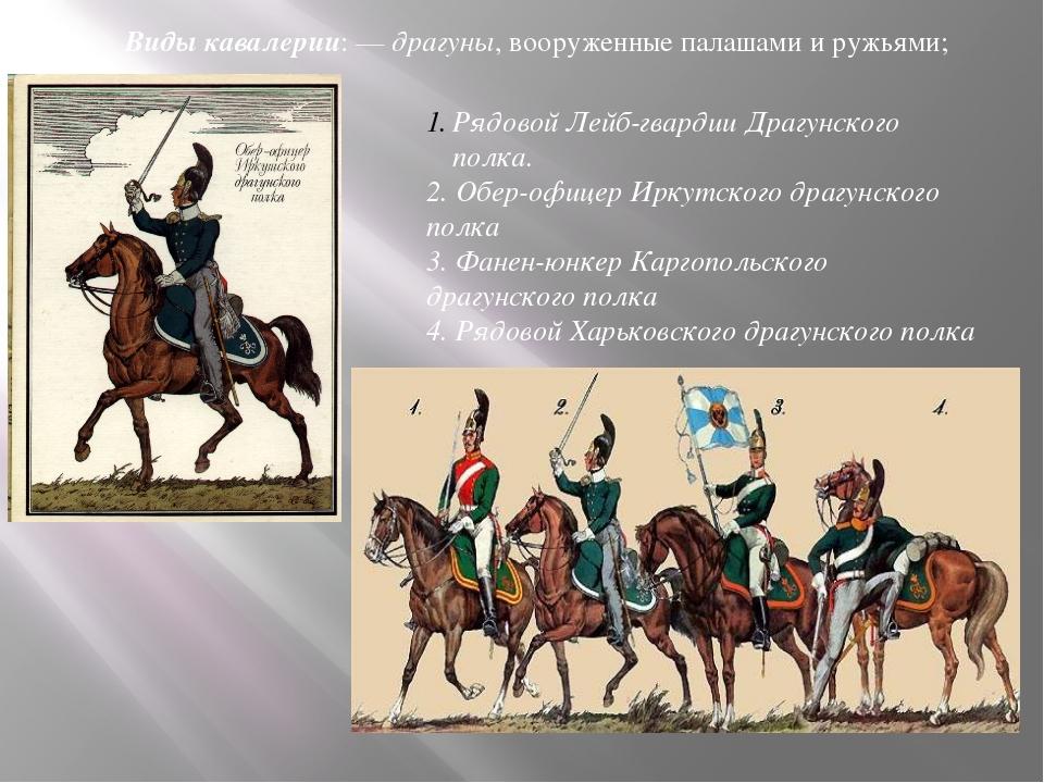 Виды кавалерии:— драгуны, вооруженные палашами иружьями; Рядовой Лейб-гвард...