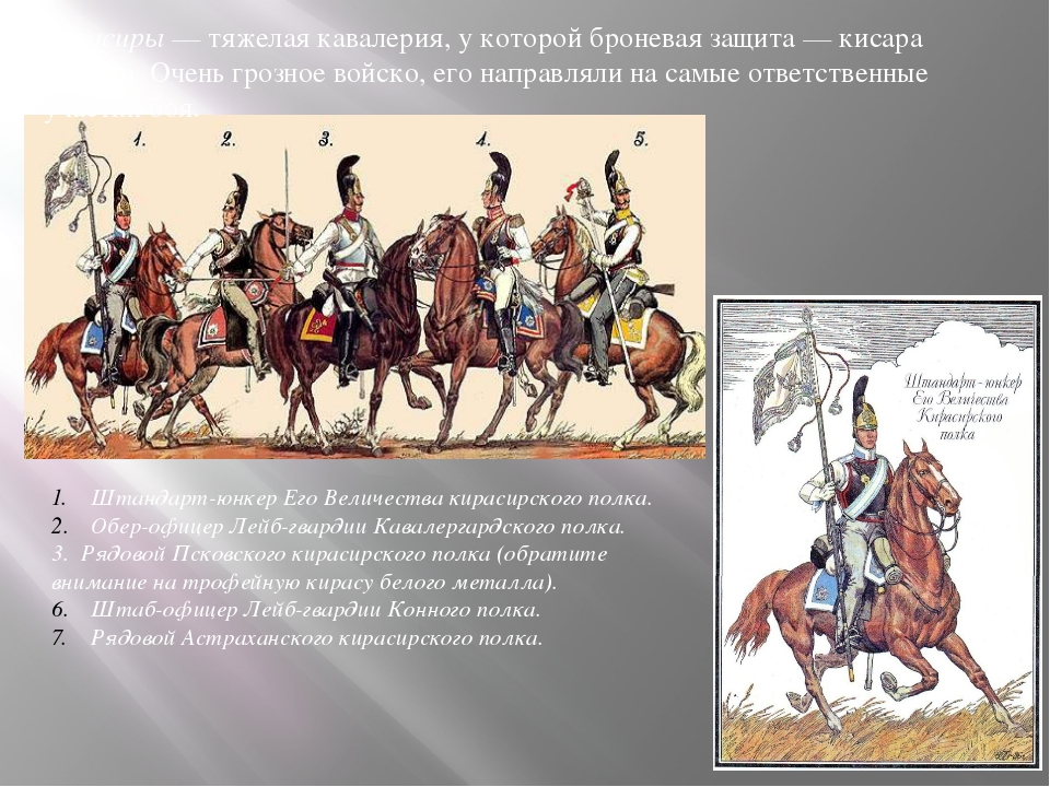 кирасиры— тяжелая кавалерия, укоторой броневая защита— кисара икаска. Оче...