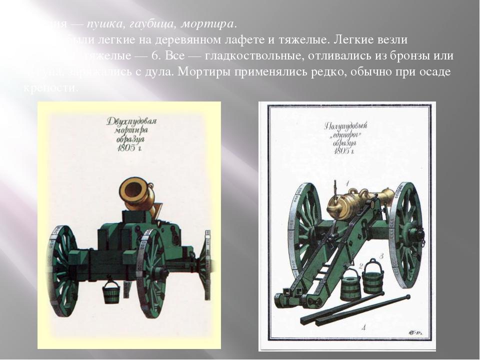 Орудия— пушка, гаубица, мортира. Пушки были легкие надеревянном лафете итя...