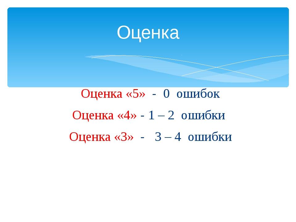 Оценка «5» - 0 ошибок Оценка «4» - 1 – 2 ошибки Оценка «3» - 3 – 4 ошибки Оце...