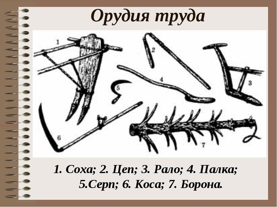 Орудия труда 1. Соха; 2. Цеп; 3. Рало; 4. Палка; 5.Серп; 6. Коса; 7. Борона.