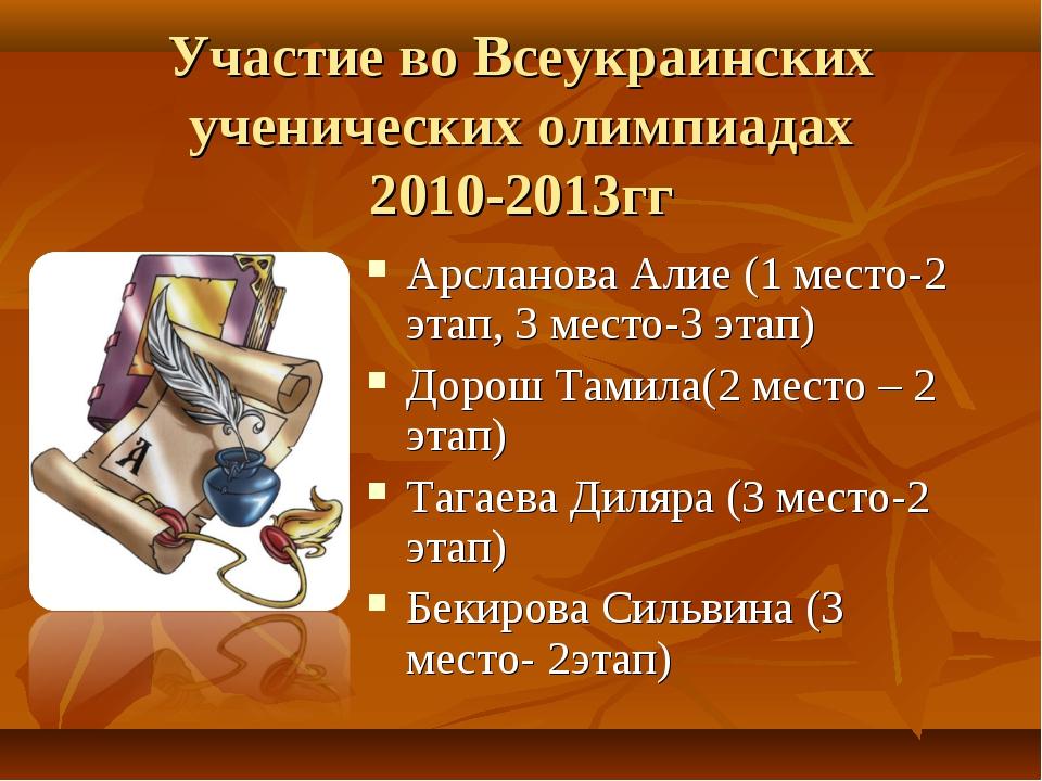 Участие во Всеукраинских ученических олимпиадах 2010-2013гг Арсланова Алие (1...