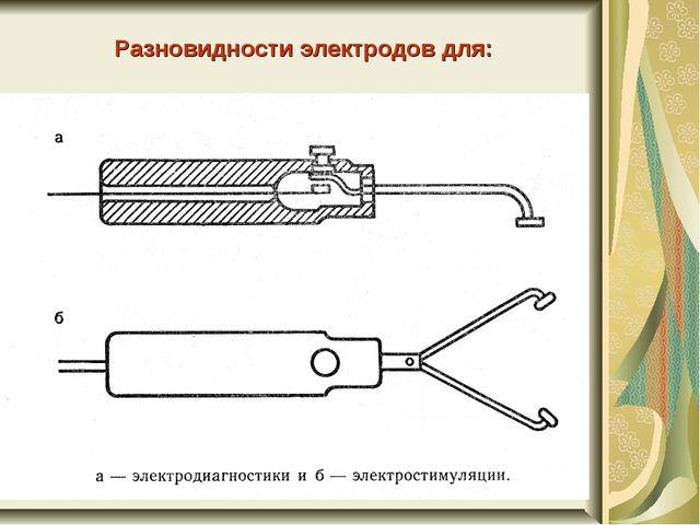 Разновидности электродов для: