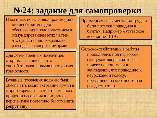 №24: задание для самопроверки В военных поселениях производили все необходимо...