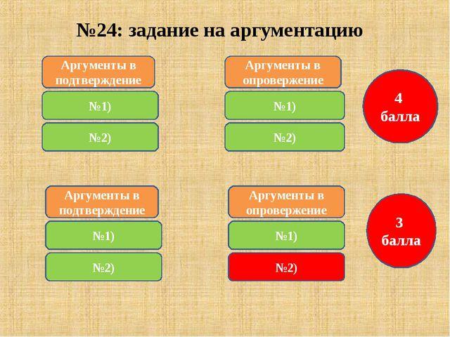 №24: задание на аргументацию Аргументы в подтверждение №1) 4 балла Аргументы...