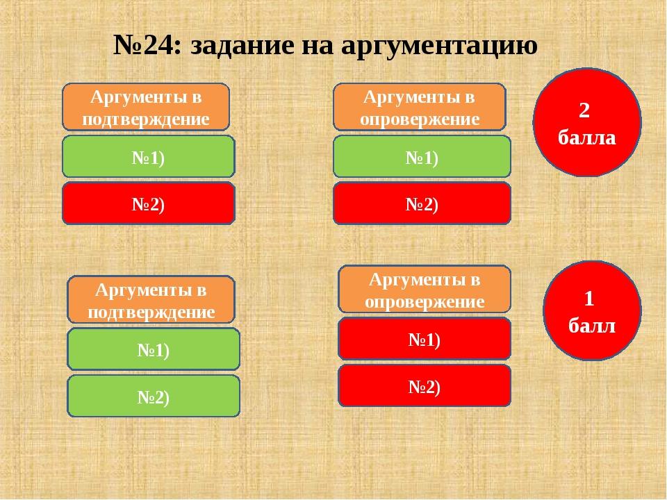 №24: задание на аргументацию Аргументы в подтверждение №1) 2 балла Аргументы...